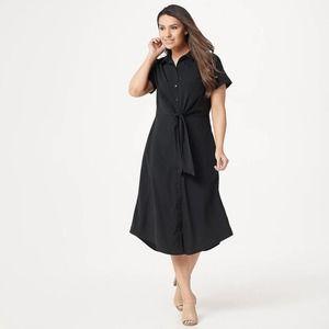 DU JOUR Shirt Button Front Midi Dress